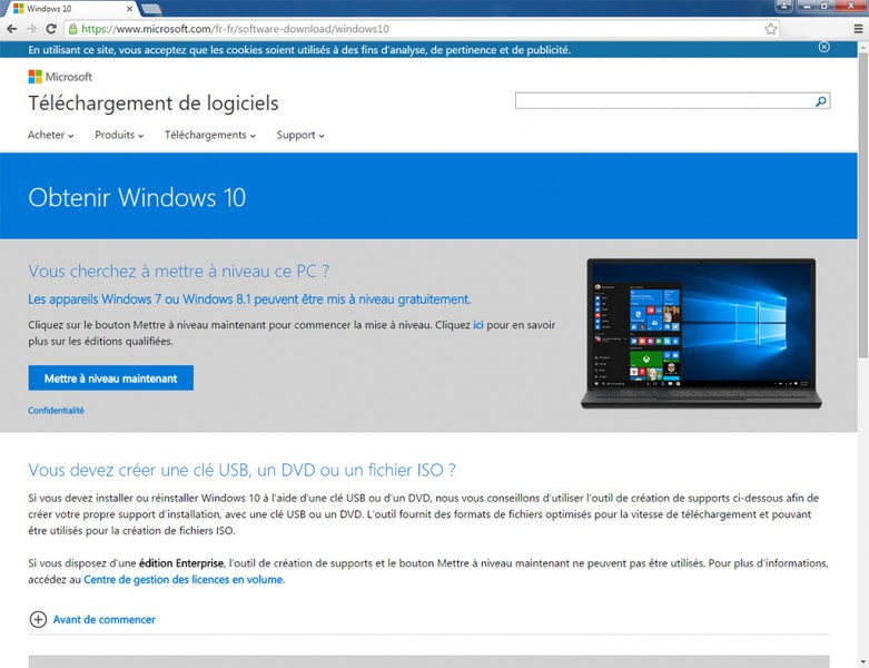 Téléchargement Windows 10