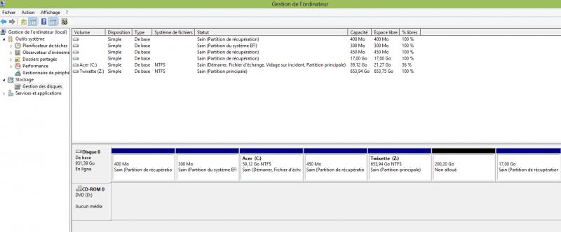 Gestionnaire de disque windows 10